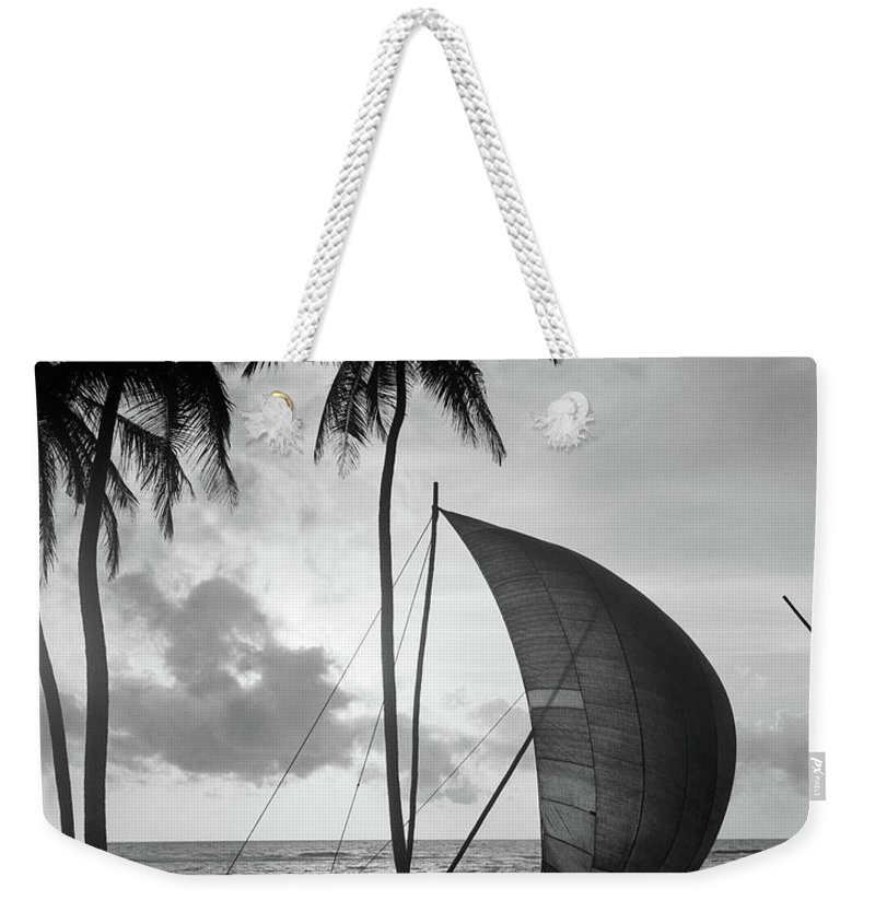 Photography Weekender Tote Bag featuring the photograph 1930s Single Catamaran On Tropical by Vintage Images