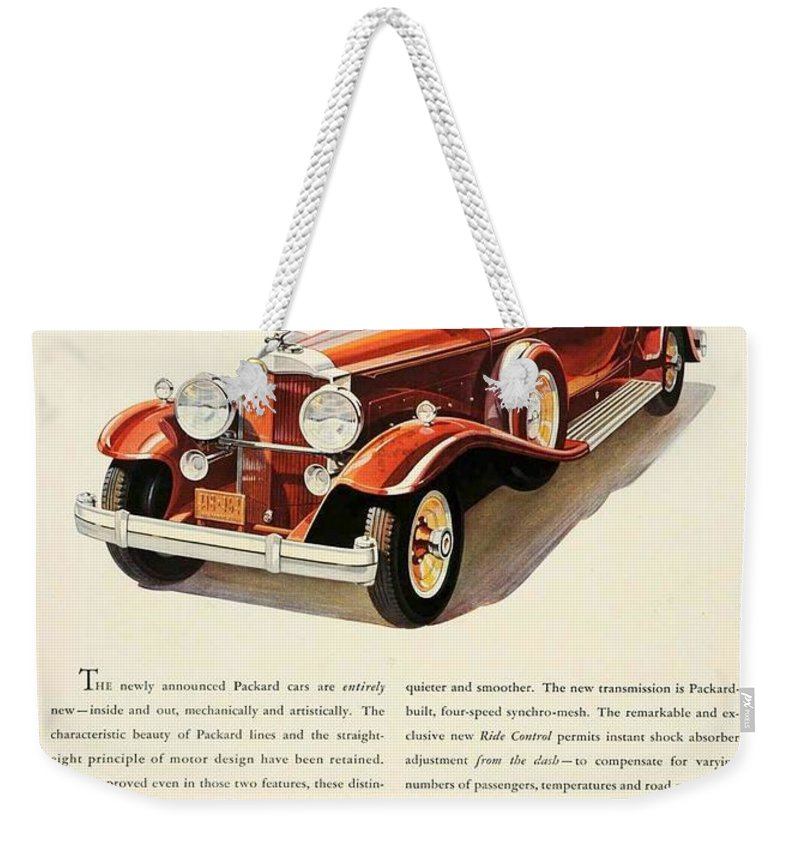 Packard Weekender Tote Bag featuring the digital art 1931 - Packard - Advertisement - Color by John Madison