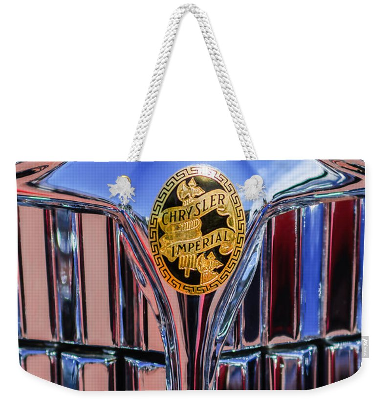 1932 Chrysler Ch Imperial Cabriolet Grille Emblem Weekender Tote Bag featuring the photograph 1932 Chrysler Ch Imperial Cabriolet Grille Emblem by Jill Reger