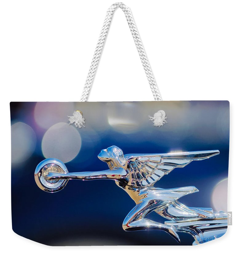 1932 Packard 12 Convertible Victoriahood Ornament Weekender Tote Bag featuring the photograph 1932 Packard 12 Convertible Victoria Hood Ornament -0251c by Jill Reger