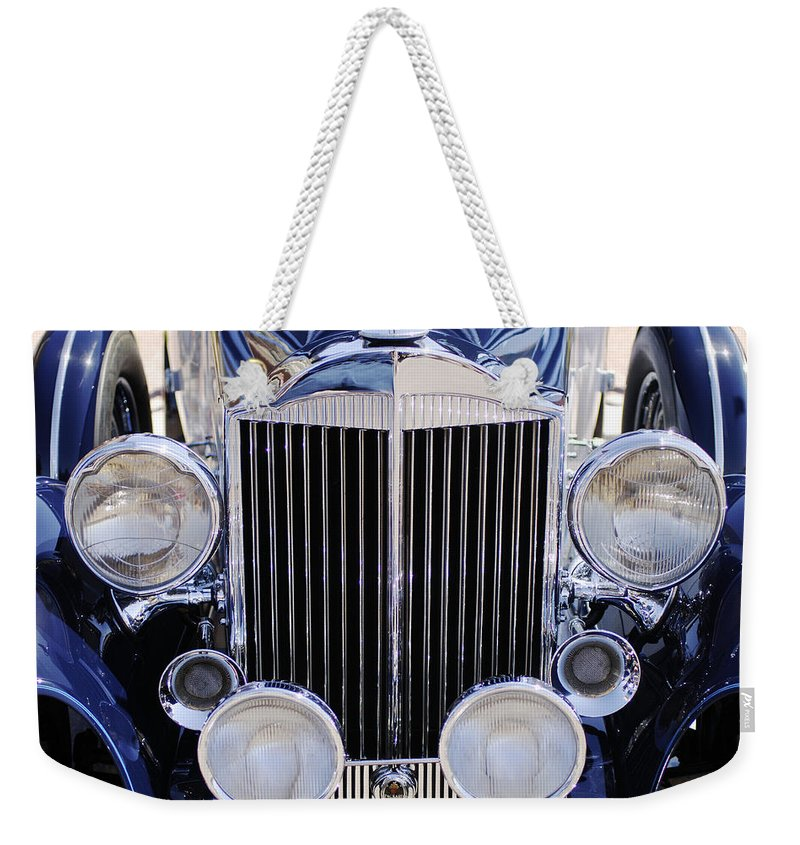 1933 Packard 12 Convertible Coupe Grille Weekender Tote Bag featuring the photograph 1933 Packard 12 Convertible Coupe Grille by Jill Reger