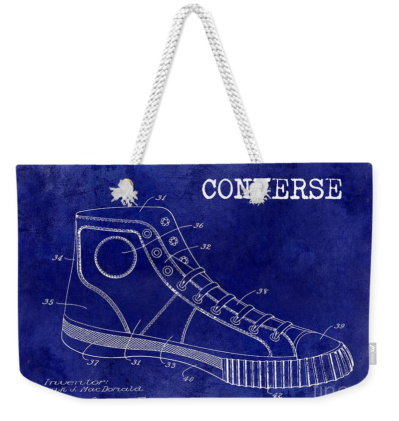 f1067bf4a2 Patent Drawing Weekender Tote Bag featuring the photograph 1934 Converse  Shoe Patent Drawing Blue by Jon