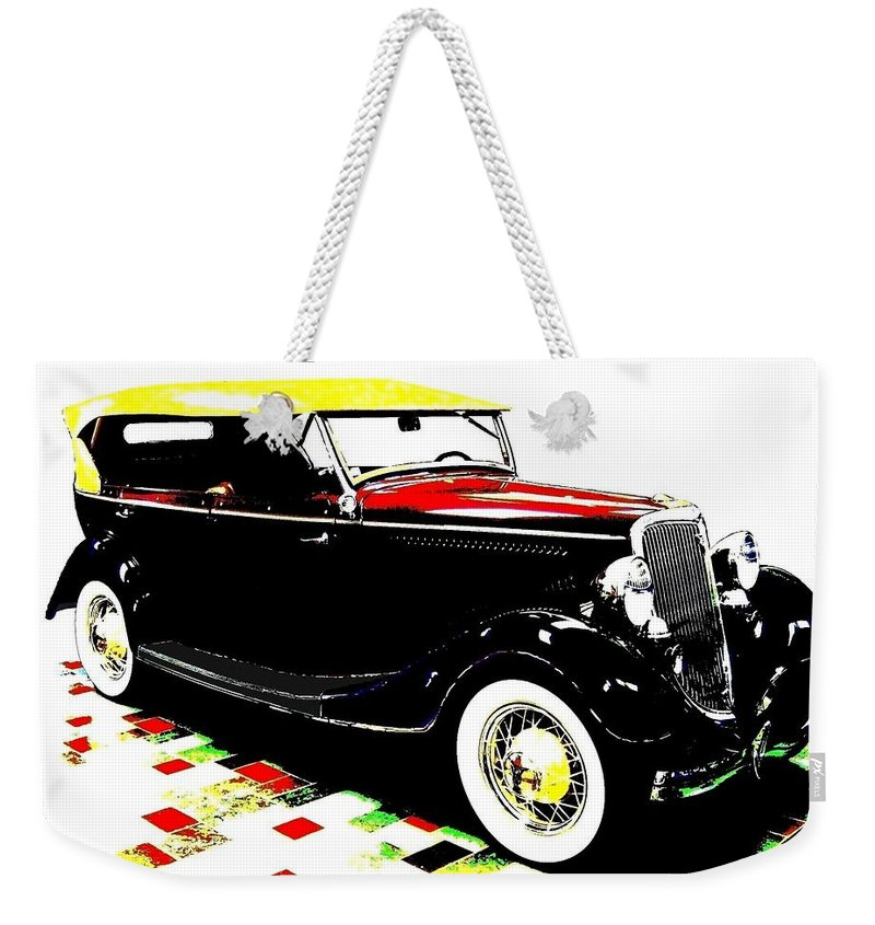 1934 Ford Phaeton V8 Weekender Tote Bag featuring the digital art 1934 Ford Phaeton V8 by Will Borden
