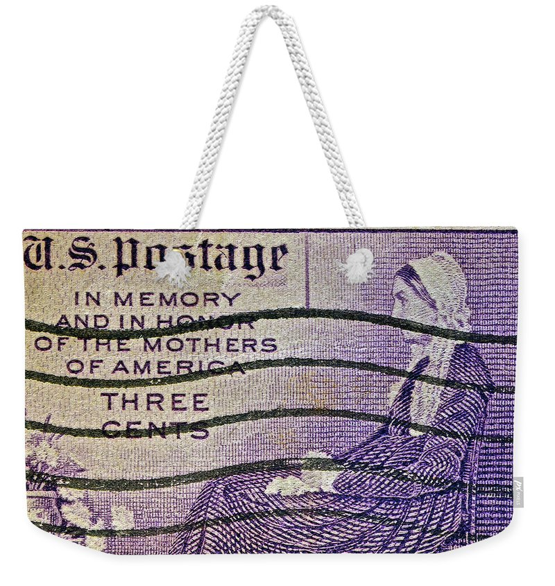 1934 Weekender Tote Bag featuring the photograph 1934 Mothers Of America Three-cent Stamp by Bill Owen