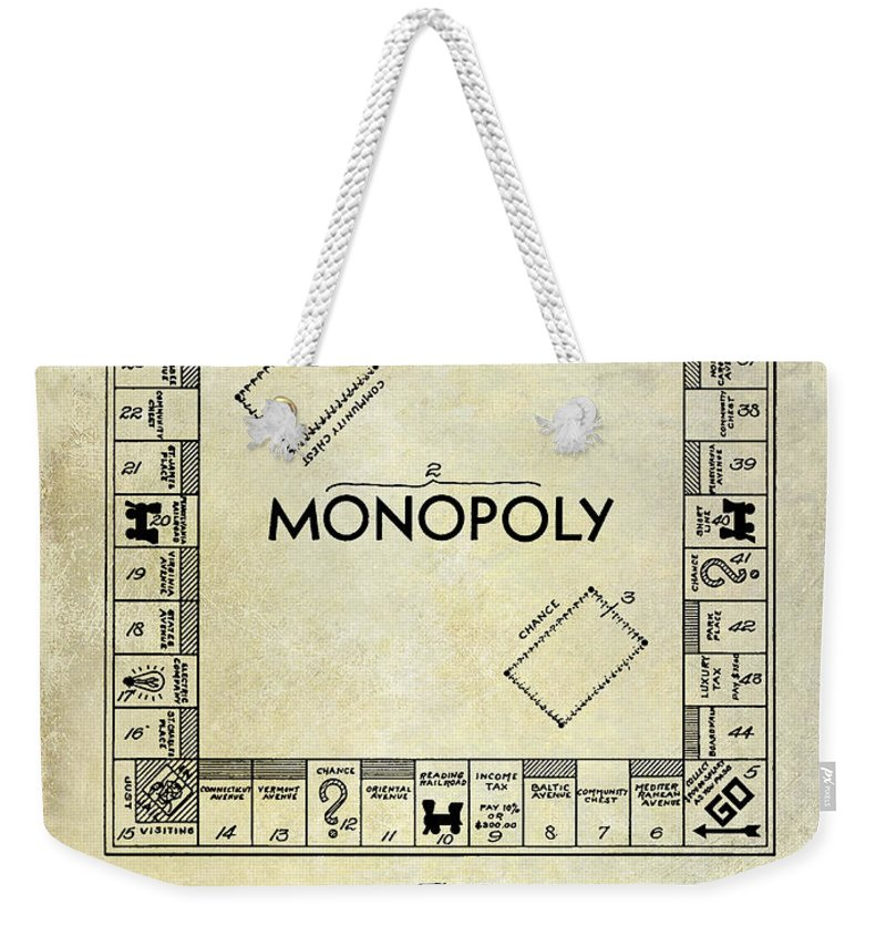 1935 Weekender Tote Bag featuring the photograph 1935 Monopoly Patent Drawing by Jon Neidert
