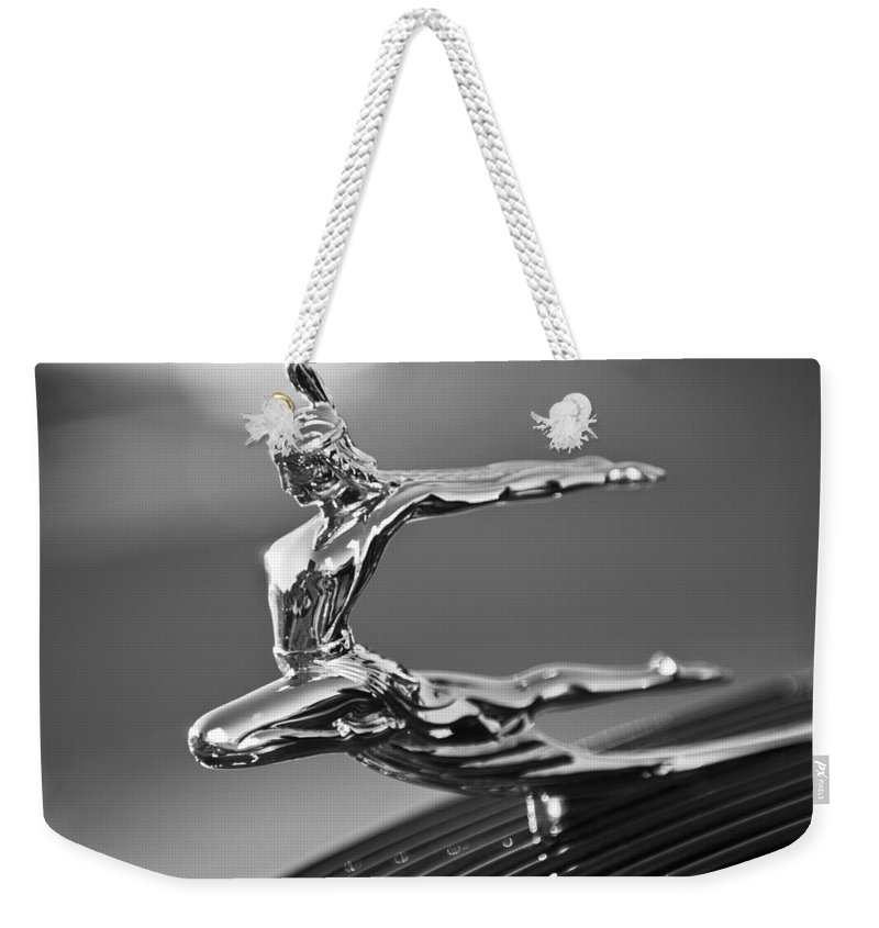1935 Pontiac Sedan Weekender Tote Bag featuring the photograph 1935 Pontiac Sedan Hood Ornament 4 by Jill Reger