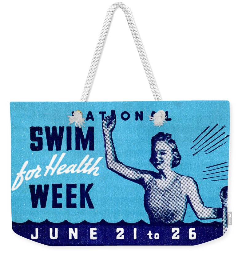 Historicimage Weekender Tote Bag featuring the painting 1935 Swim For Health Poster by Historic Image