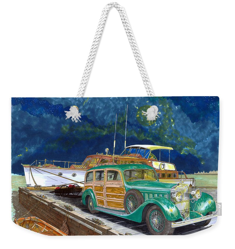 Classic Car Art Weekender Tote Bag featuring the painting 1936 Hispano Suiza Shooting Brake by Jack Pumphrey