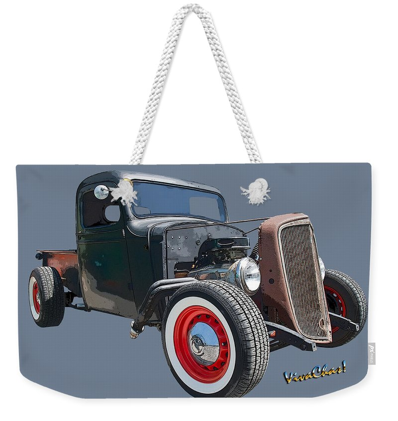 1936 Weekender Tote Bag featuring the photograph 1936 Rat Rod Chevy Pickup by Chas Sinklier