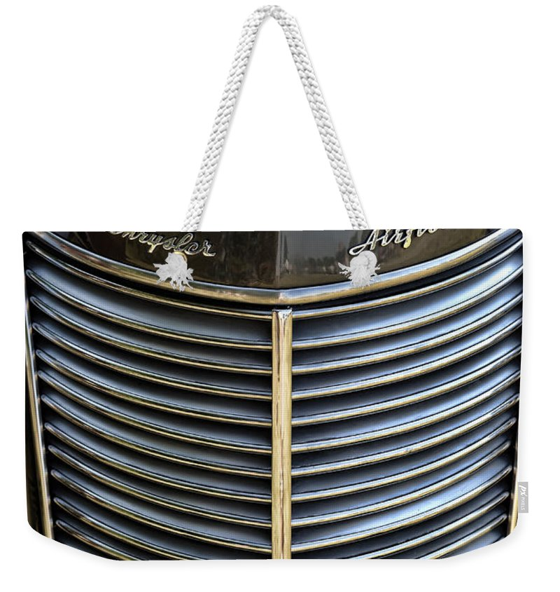 1937 Weekender Tote Bag featuring the photograph 1937 Chrysler Airflow by Gordon Dean II