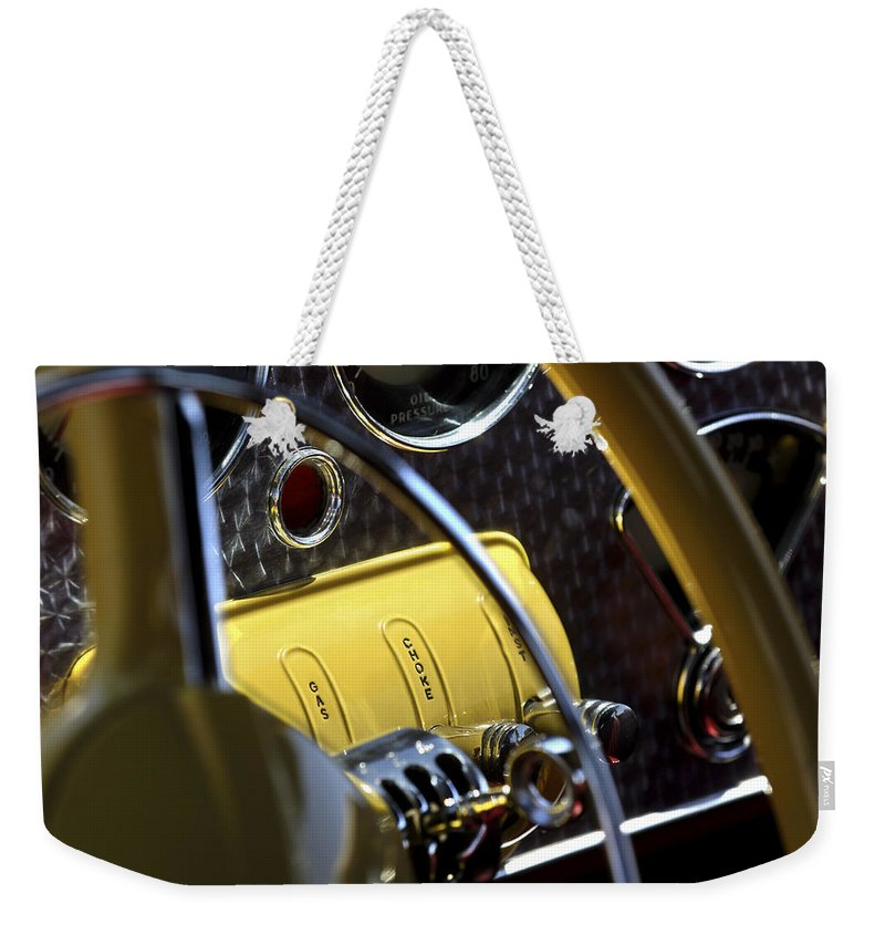 1937 Cord 812 Phaeton Controls Weekender Tote Bag featuring the photograph 1937 Cord 812 Phaeton Controls by Jill Reger