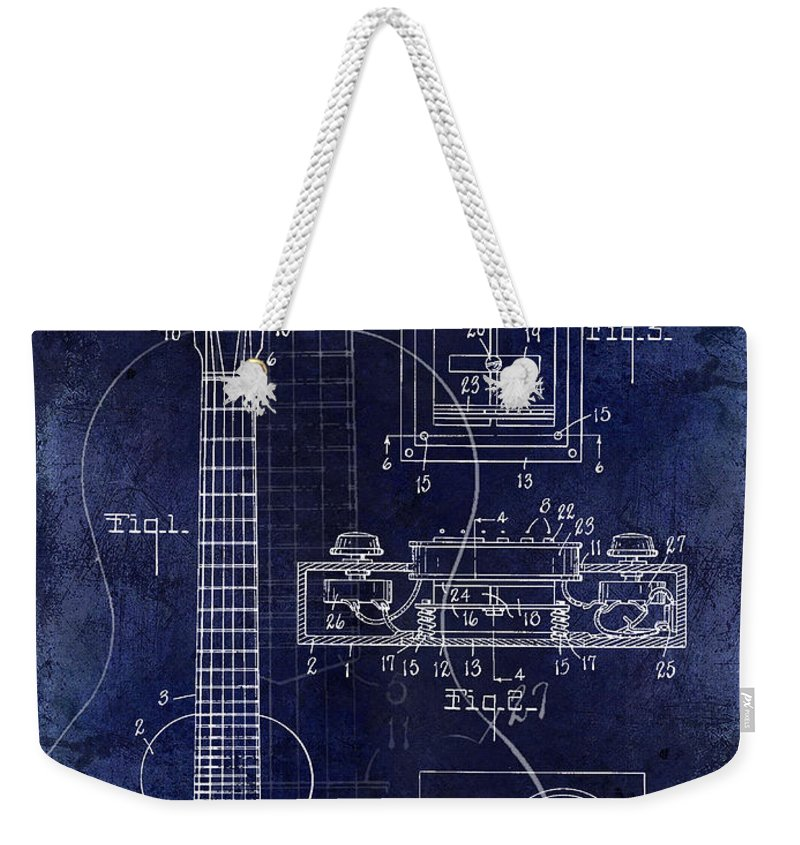Les Paul Weekender Tote Bag featuring the photograph 1937 Gibson Electric Guitar Patent Drawing Blue by Jon Neidert