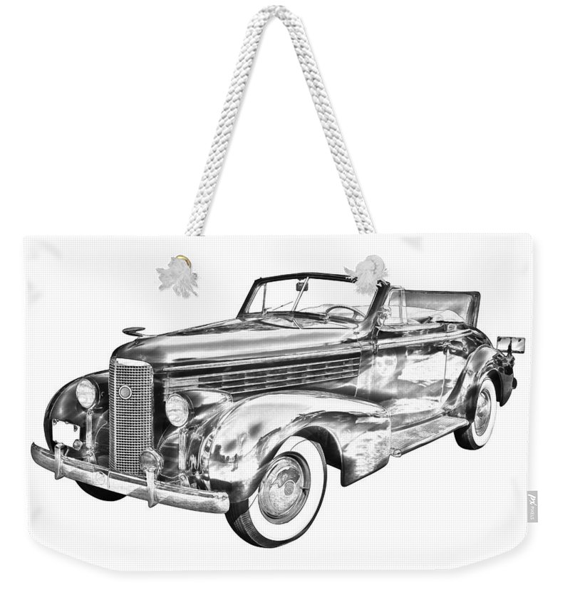 1938 Cadillac Lasalle Weekender Tote Bag featuring the photograph 1938 Cadillac Lasalle Illustration by Keith Webber Jr