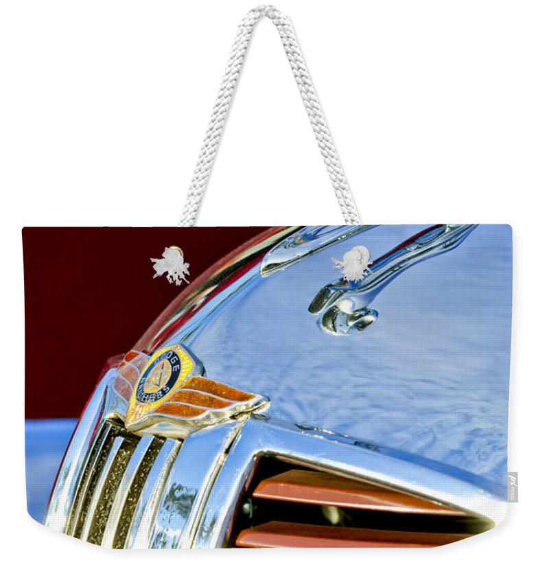 1938 Dodge Ram Weekender Tote Bag featuring the photograph 1938 Dodge Ram Hood Ornament 3 1938 by Jill Reger