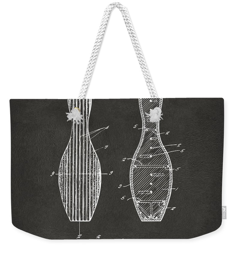 Bowling Weekender Tote Bag featuring the digital art 1939 Bowling Pin Patent Artwork - Gray by Nikki Marie Smith