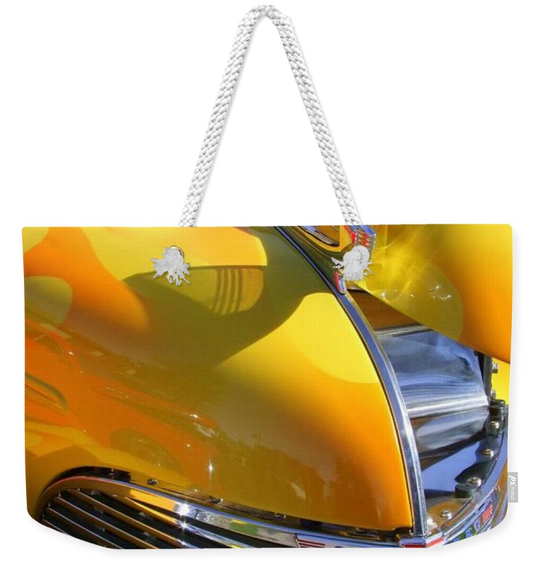 Old Cars Weekender Tote Bag featuring the photograph 1939 Chevy Hood by Mary Deal