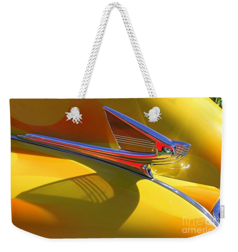 Old Cars Weekender Tote Bag featuring the photograph 1939 Chevy Hood Ornament by Mary Deal