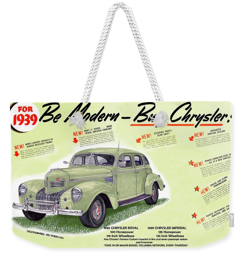 Vintage Automobile Ads Featuring The Artwork Of Jack Pumphrey Of The 1939 Chrysler Imperial Weekender Tote Bag featuring the painting 1939 Imperial Vintage Automobile Ad by Jack Pumphrey