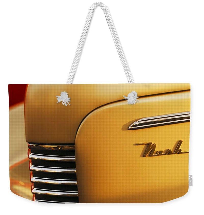 1940 Nash Sedan Grille Weekender Tote Bag featuring the photograph 1940 Nash Sedan Grille by Jill Reger