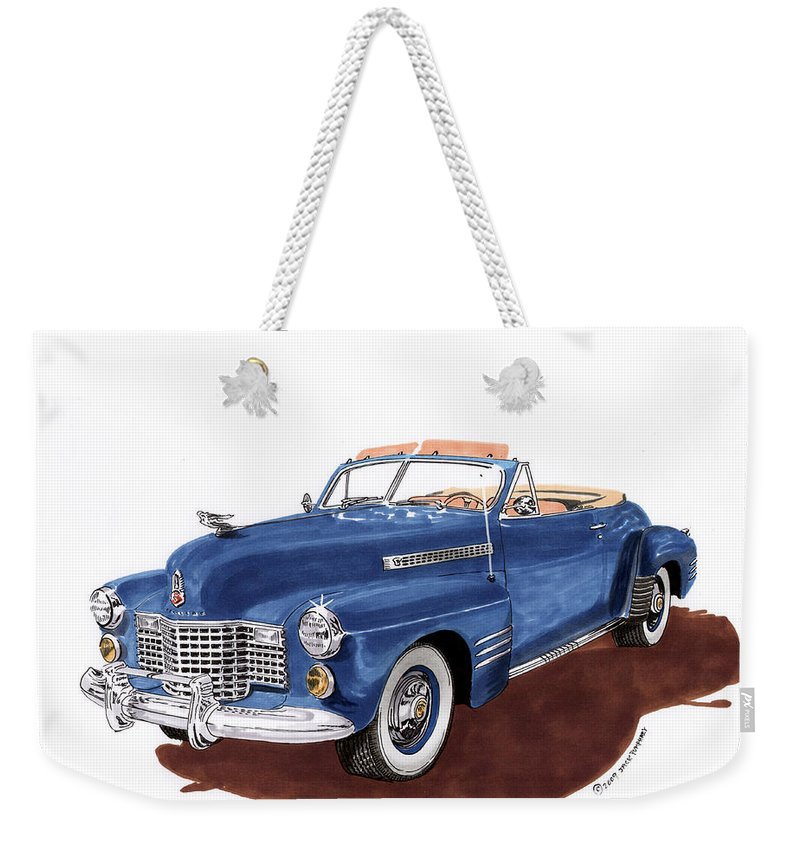 Classic Car Paintings Weekender Tote Bag featuring the painting 1941 Cadillac Series 62 Convertible by Jack Pumphrey