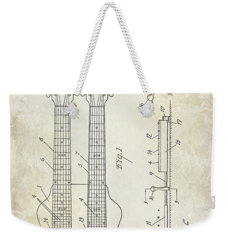 Les Paul Weekender Tote Bag featuring the photograph 1941 Gibson Electric Guitar Patent Drawing by Jon Neidert