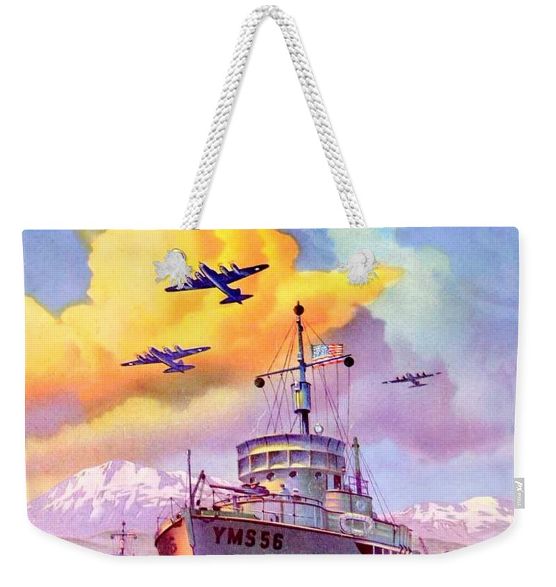 1942 Weekender Tote Bag featuring the digital art 1942 - Motor Boating Magazine Cover - October - Color by John Madison
