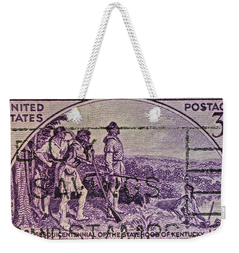 1942 Weekender Tote Bag featuring the photograph 1942 Kentucky Statehood Stamp by Bill Owen