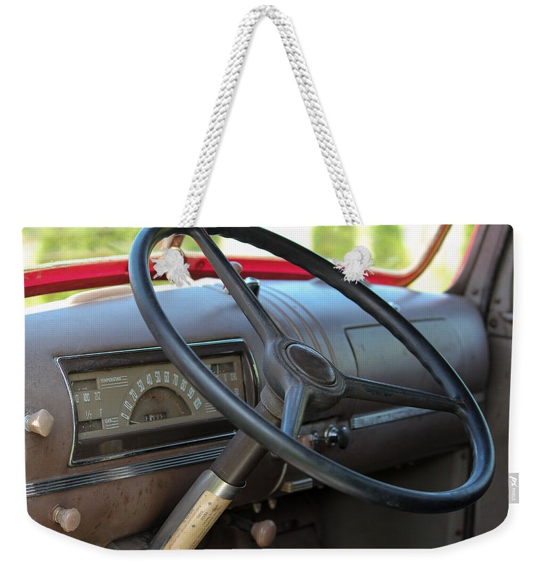 1946 Chevrolet Weekender Tote Bag featuring the photograph 1946 Chevy Dash by E Faithe Lester