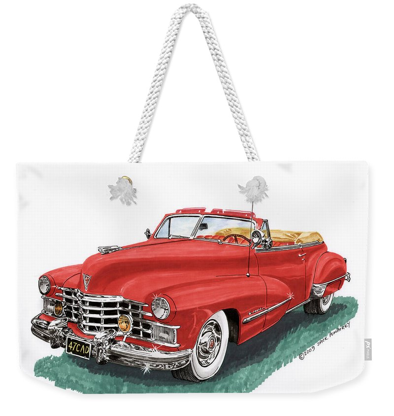 Framed Prints Of Vintage 1947 Cadillac Convertibles Weekender Tote Bag featuring the painting Cadillac Series 62 Convertible by Jack Pumphrey