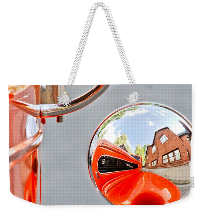 1948 Anglia Rearview Mirror Weekender Tote Bag featuring the photograph 1948 Anglia Rear View Mirror -451c by Jill Reger