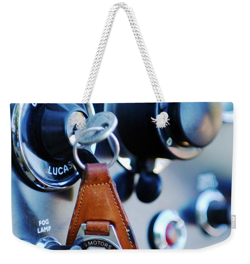 1948 Mg Tc Key Ring Weekender Tote Bag featuring the photograph 1948 Mg Tc Key Ring by Jill Reger