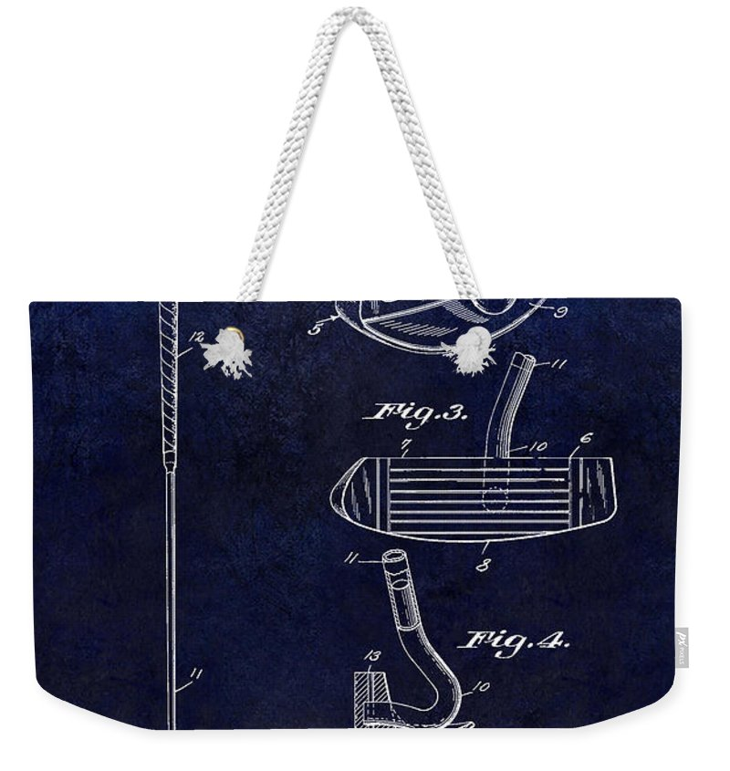 1949 Weekender Tote Bag featuring the photograph 1949 Golf Putter Patent Drawing Blue by Jon Neidert