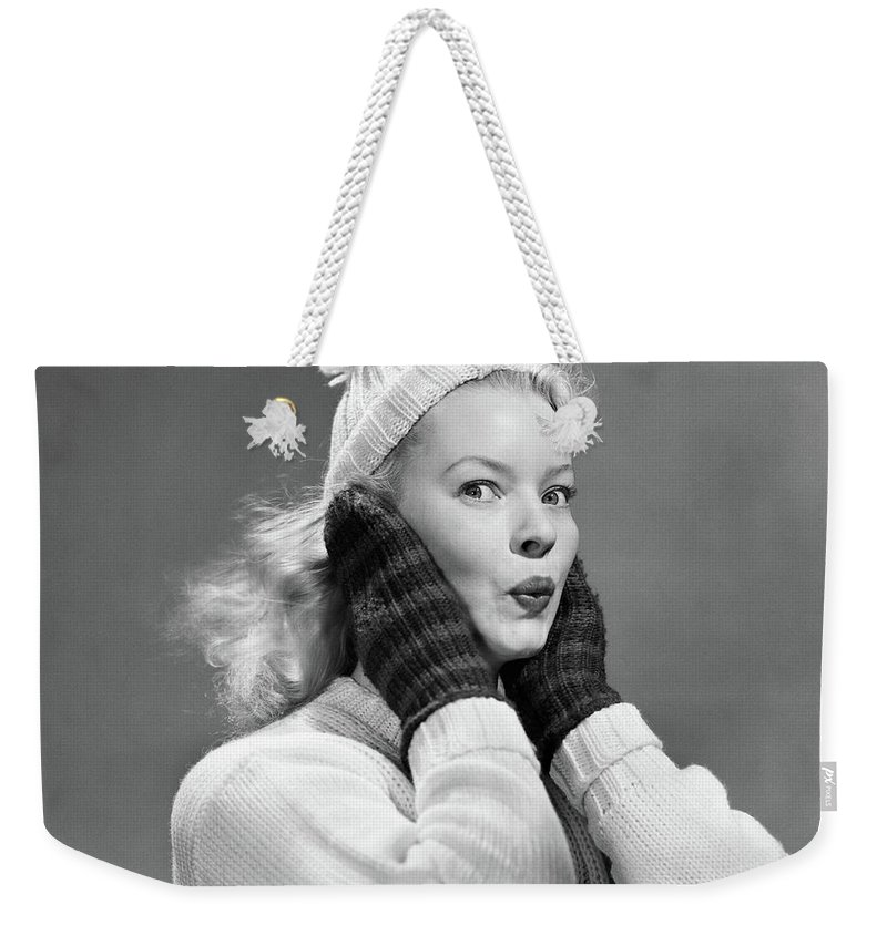 Photography Weekender Tote Bag featuring the photograph 1950s Young Woman Pursing Lips Hands by Vintage Images