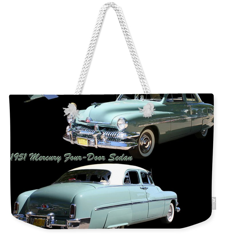 Enhanced Photograph Of 1951 Mercury 4 Door Sedan. Automobiles Of The Fifties. Great Cars Of The Fifties. Mercury Automobiles Weekender Tote Bag featuring the photograph 1951 Mercury Come And Going by Jack Pumphrey