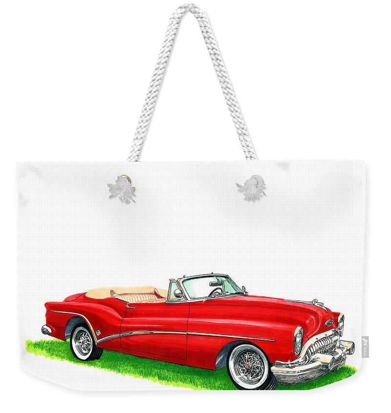 1953 Buick Skylark Convertible Weekender Tote Bag featuring the painting 1953 Buick Skylark Convertible by Jack Pumphrey