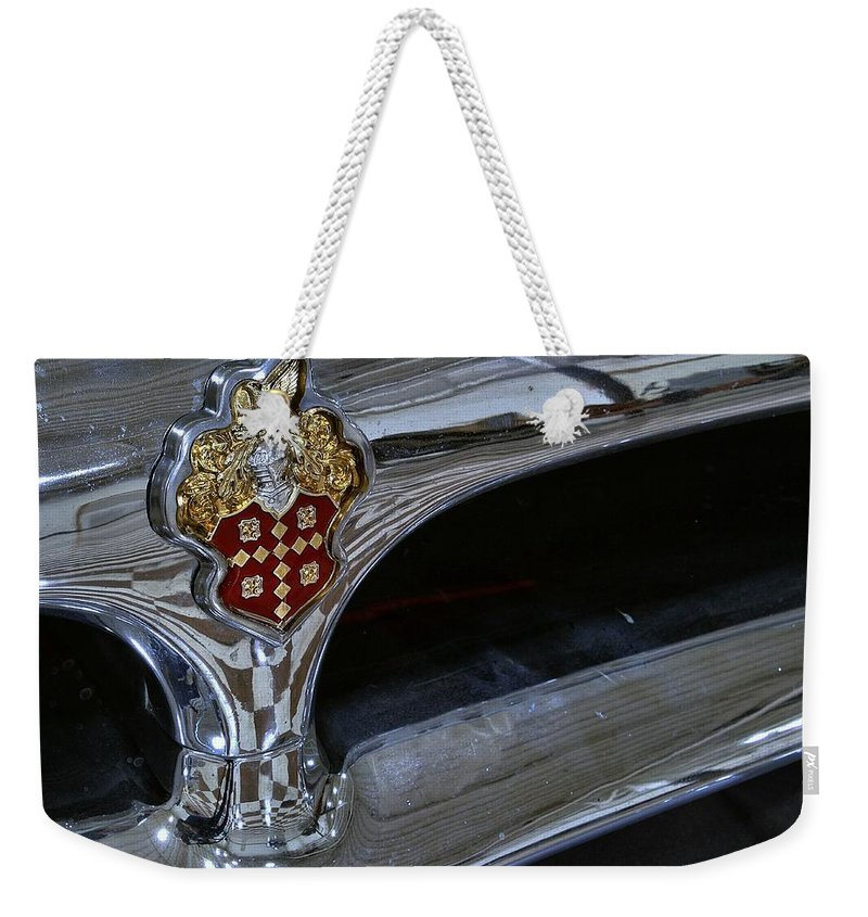1953 Weekender Tote Bag featuring the photograph 1953 Packard Clipper Grill by Michael Gordon