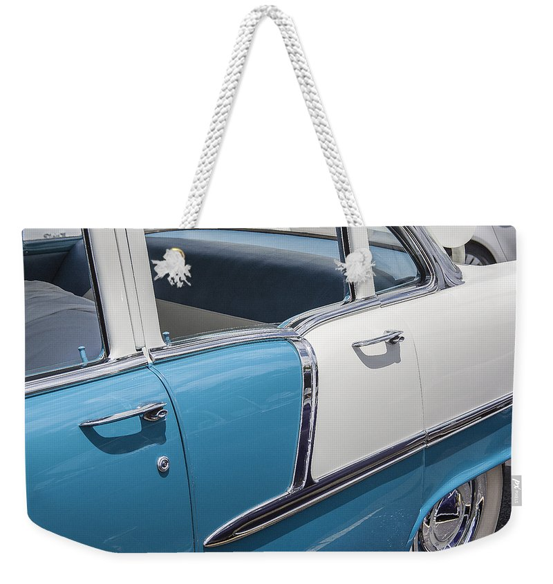 V8 Engine Weekender Tote Bag featuring the photograph 1955 Chevrolet 4 Door by Rich Franco