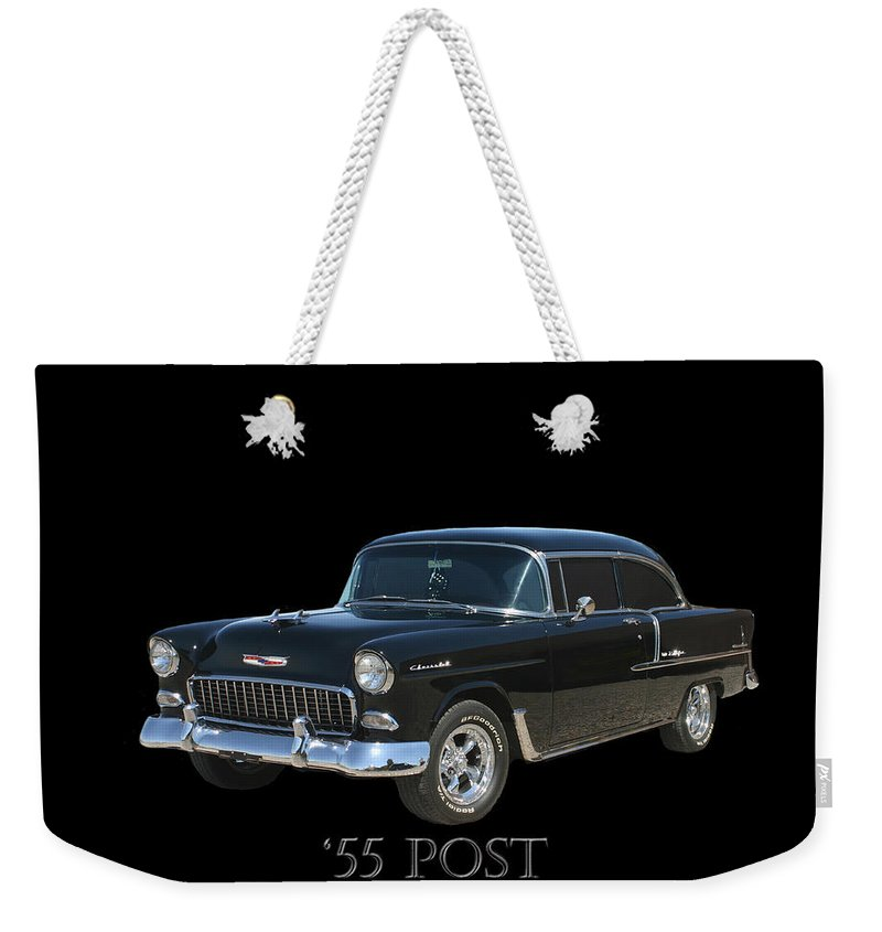Thank You For Buying A Shower Curtain Of 1955 Chevy Post To A Buyer From Montevallo Weekender Tote Bag featuring the photograph 1955 Chevy Post by Jack Pumphrey