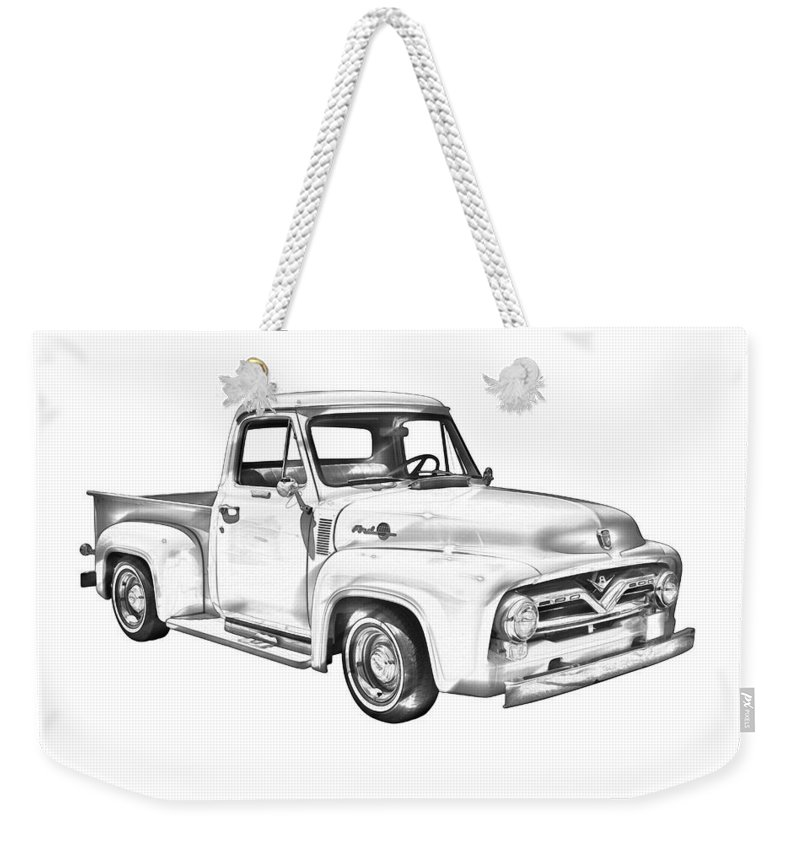 1955 F100 Ford Pickup Truck Illustration Weekender Tote Bag for Sale ...