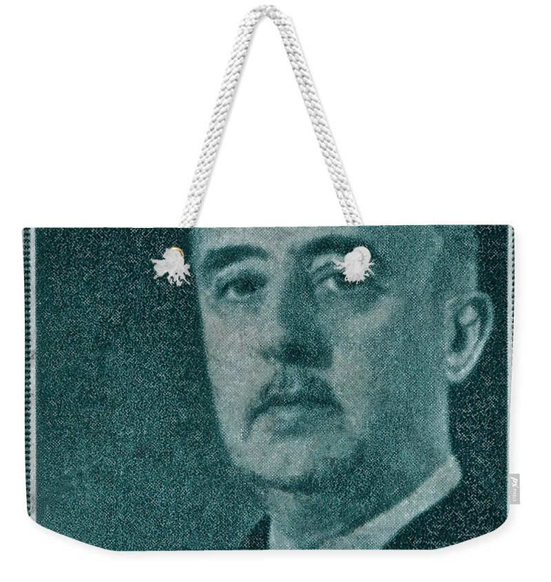 1955 Weekender Tote Bag featuring the photograph 1955 General Franco Spanish Stamp by Bill Owen