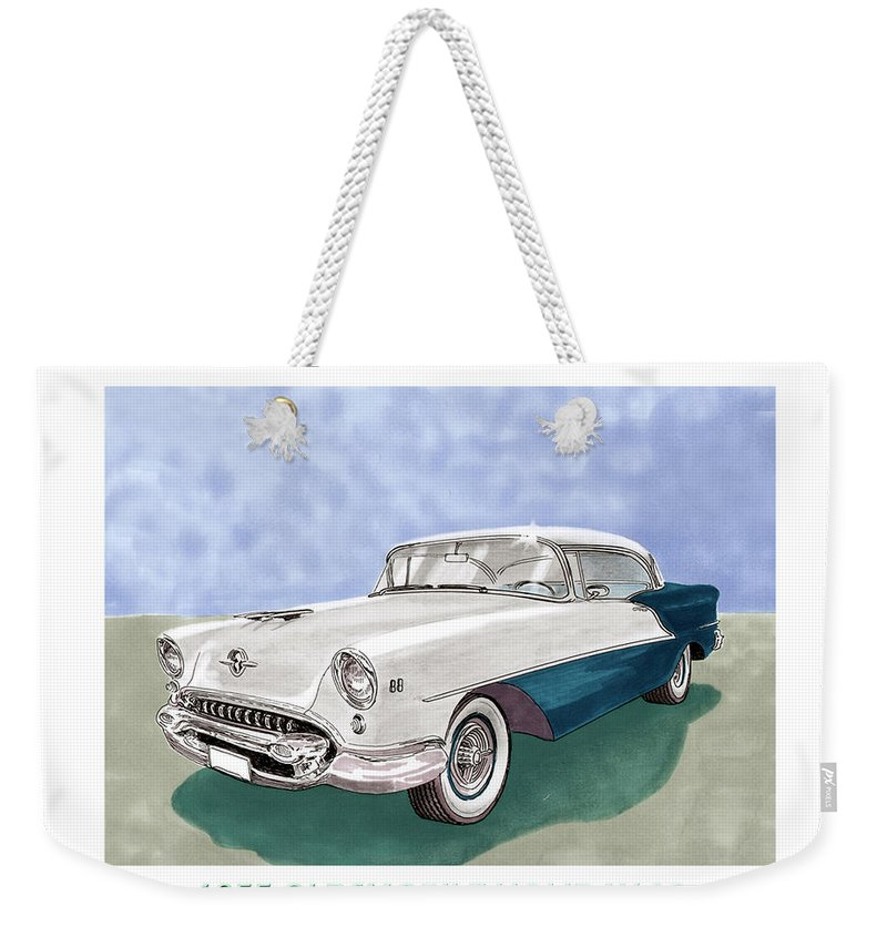 Classic Car Art Weekender Tote Bag featuring the painting 1955 Oldsmobile Holiday 88 by Jack Pumphrey