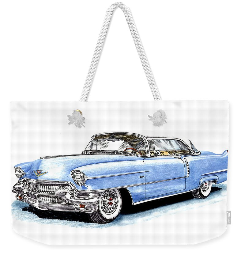 1956 Weekender Tote Bag featuring the drawing 1956 Cadillac Coupe De Ville by Jack Pumphrey