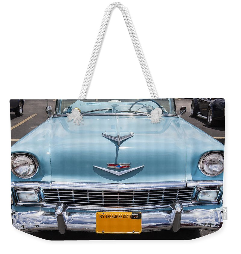 Engine Weekender Tote Bag featuring the photograph 1956 Chevrolet Bel Air by Rich Franco