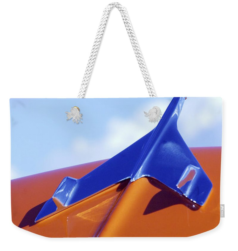 1956 Chevrolet Weekender Tote Bag featuring the photograph 1956 Chevrolet Belair Hood Ornament by Jill Reger