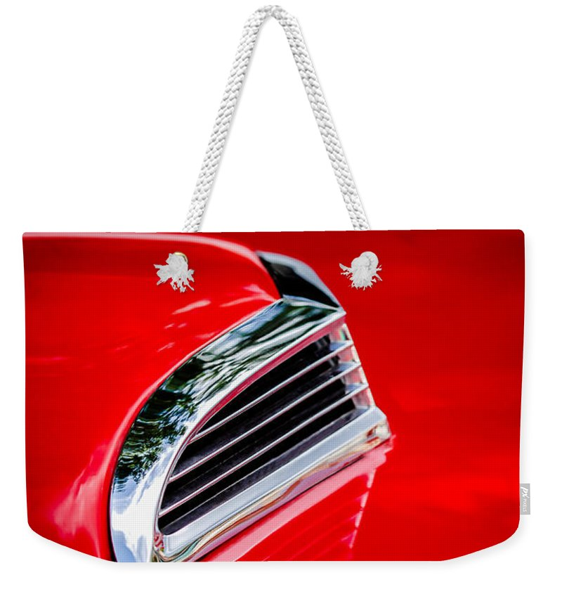 1956 Ford Thunderbird Hood Scoop Weekender Tote Bag featuring the photograph 1956 Ford Thunderbird Hood Scoop -287c by Jill Reger