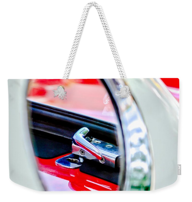 1956 Ford Thunderbird Latch Weekender Tote Bag featuring the photograph 1956 Ford Thunderbird Latch -417c by Jill Reger