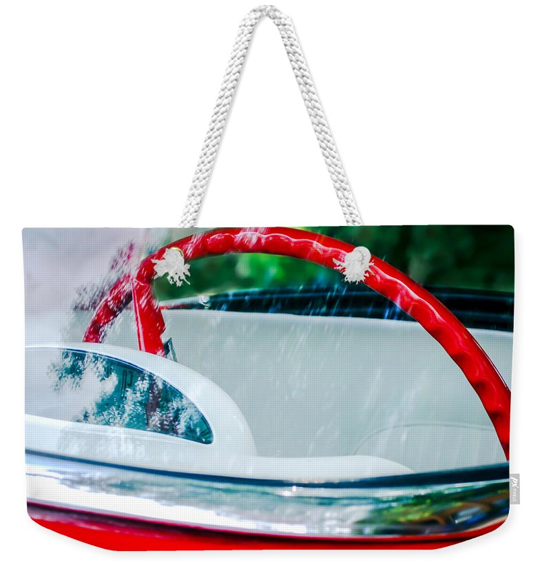 1956 Ford Thunderbird Steering Wheel Weekender Tote Bag featuring the photograph 1956 Ford Thunderbird Steering Wheel -402c by Jill Reger