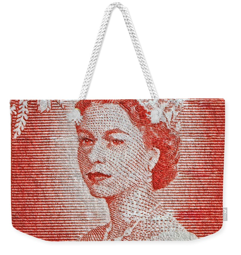 1956 Weekender Tote Bag featuring the photograph 1956 Queen Elizabeth New Zealand Stamp by Bill Owen