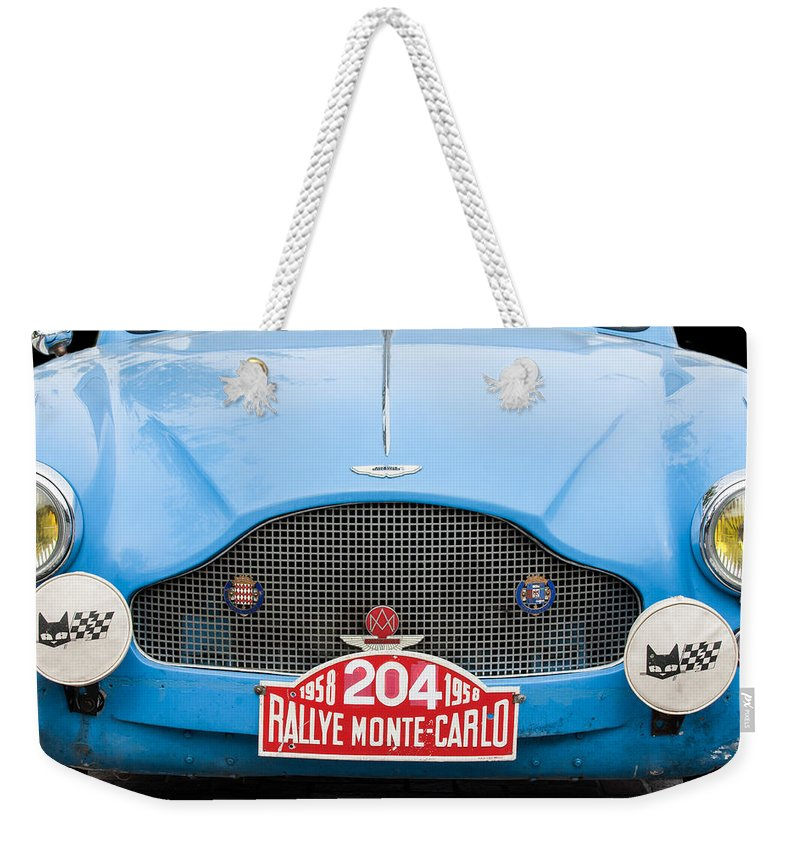 1957 Aston Martin 2-4 Mk Iii Prototype Lgw Weekender Tote Bag featuring the photograph 1957 Aston Martin 2-4 Mk IIi Prototype Lgw by Jill Reger