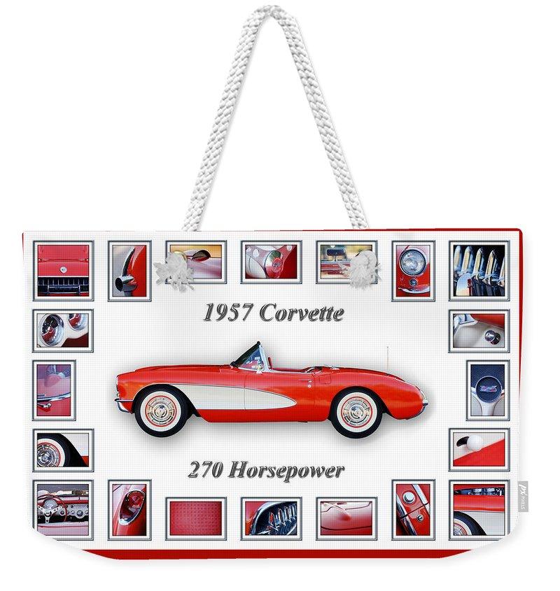 1957 Chevrolet Corvette Grille Weekender Tote Bag featuring the photograph 1957 Chevrolet Corvette Art by Jill Reger